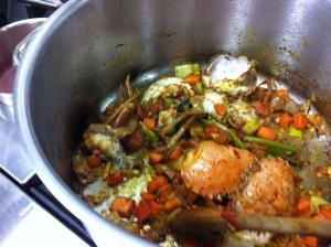Crab bisque underway