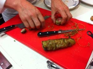 Preparing the lamb for plating