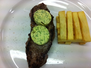 My steak and chips and Rob's butter