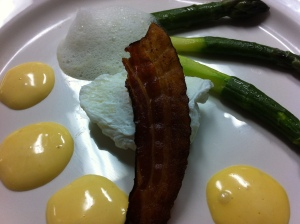 Asparagus mousseline sauce truffle oil poached egg and parmesan emulsion